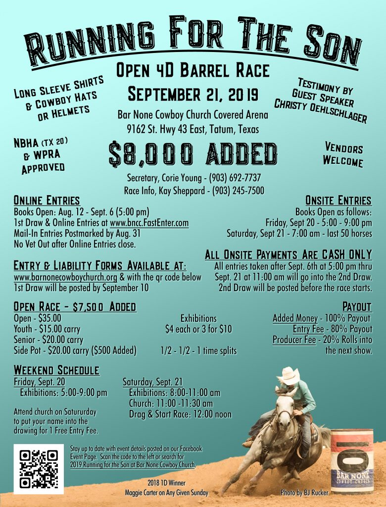 Bar None Running for the Son Barrel Race Flyer